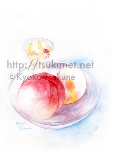 桃のイラスト(水彩画)【f01】