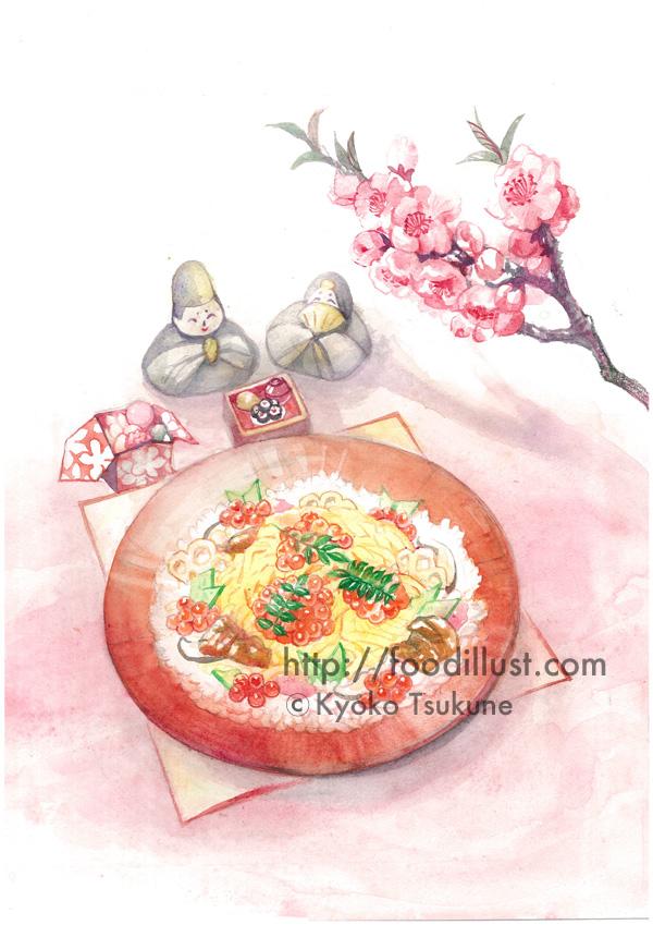 ひなまつり:ちらし寿司のイラスト